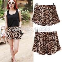 Y014--fashion Summer Womens Sexy Casual Elastic Waist Beach Shorts Leisure Leopard Print Shorts free shipping
