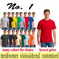 Summer cotton pure color render unlined upper garment smock class round collar short sleeve T-shirt customization
