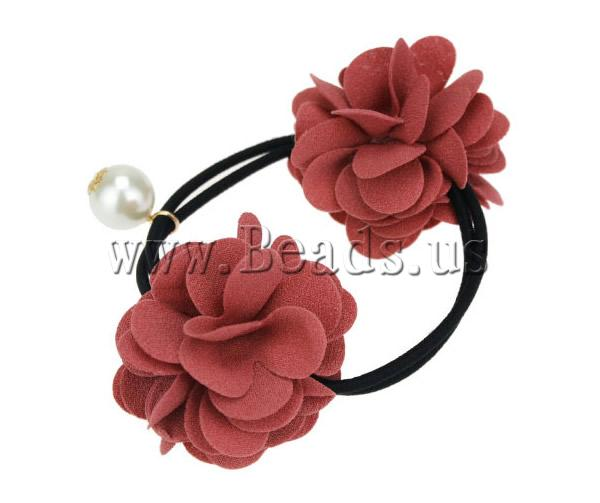 Free shipping!!!Ponytail Holder,Jewelry 2013 Fashion, Polyester, with Rubber & Plastic Pearl, Flower, bean red, 90mm, 10PCs/Lot(China (Mainland))