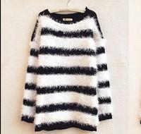 2014 New Women Girl Fashion Black White Striped Faux Rabbit Jumper Sweater top Knitwear Coat WC719