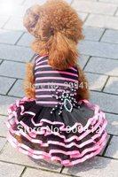 2014 Fashionalbe Fluorescent Stripe Lace Dog Dress Pet Pring Clothes Pet Wedding Dress XS/S/M/L Free Shipping