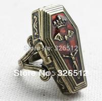 New Arrival Unisex Womans men fashion Vintage Bronze Alloy Enamel Crown Bat Cross Jesus Coffin Box finger Rings 6pieces/lot