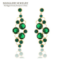 Neoglory Top Quality Austria Rhinestone 14k Gold Plated Zircon Luxury Drop Earrings for Women 2014 New Jewelry Brand