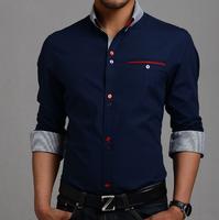 2014 New Stylish Stripe Men Shirts Patchwork Plaid Men shits Business Long-sleeve Man Dress Shirt M-XXXL Size Plus  MCL238