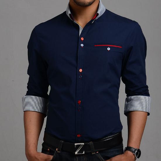 2014 New Stylish Stripe Men Shirts Patchwork Plaid Men shits Business Long-sleeve Man Dress Shirt M-XXXL Size Plus MCL238(China (Mainland))