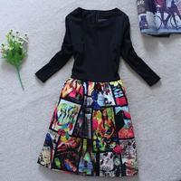 New 2014 spring fashion slim fashion elastic knitted cotton elegant women winter dress vintage print casual dresses  ZY0541