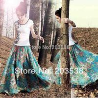 2014 NEW Long Skirts Chiffon Floral Printed Bohemian Women's Clothes Maxi Skirt Beach Skirt 90cm Length