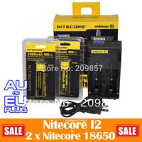 Big Sale Nitecore I2 Micro Processor Controlled Intelligent Charger AAA  AA Adapter + 2 Pcs Nitecore 18650 High Capacity Battery