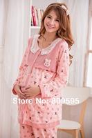 Free shipping Plus size Spring Autumn Lovely Bunny women cotton Maternity clothes sleep & Lounge Nursing pajamas set