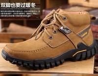 Genuine leather platform sneakers men Short boots Waterproof breathable aseismic slip wear-resisting outdoor casual shoes 39-43