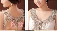2014 new luxury wedding  bride big crystal lace bridal necklace chain princess platform prom V shoulder necklace sparkly jewelry