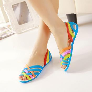 2015 Hole Shoes Women'S Colorful Open Toe Sandals Female Summer Sandals Flat Low Platform Sandals XG5-01