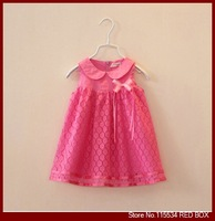 Spring and summer girls clothing baby solid color cotton lace turn-down collar child bow flower tank dress C0026