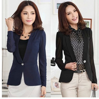 Free Shipping Us Female Fashion Spring and Autumn Long Sleeve Gauze Brief Small Suit Jacket,Women Slim Coat XL XXL XXXL 4XL