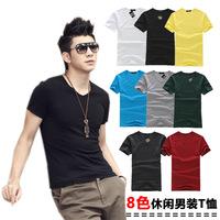 Men's Short-sleeve V-neck T-shirt 2014 New  Men's Cotton Tops T-shirt  Fashion Men Slim Fit Tees T-shirt + Free Shipping