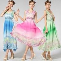 Women Chiffon Slim Floral Print Sleeveless Dress Ruffle Dress Elastic Slim Waist Deep V- Neck Ladies' One-piece Dress 8602#