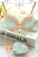 hot-selling new embroidery gauze sexy lace bra briefs set with bow deep V push up women underwear bra set chiffon panties