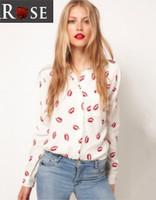 2014 free shipping Fashion red lips women's long-sleeve shirt----XL-CS6304