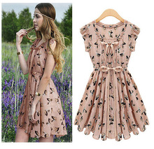 2013 Newest European Start Design Slim Fashion Women Sleeveless Animal Printed Vintage color Chiffon Casual Novelty Dress(China (Mainland))