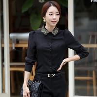 Women tops 2014 spring thick plus size Body Shirts long-sleeve Beading chiffon Blouses Fasion women's basic shirt lady