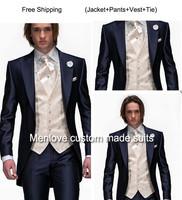 2014 Morning Style Navy Blue One Button Groom Tuxedos Best Man Peak Lapel Groomsmen Men Wedding Suits Bridegroom (Jacket+Pants+T
