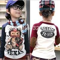 Free shipping,Spring children's long sleeve T shirt,Cotton Baseball Bear Boy T-shirt TZ18A04