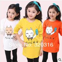 Free shipping,Spring children's long sleeve T shirt,Cotton cat fish long paragraph T-shirt shirt bottoming shirt TZ18A53