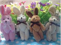 50pcs/lot 8cm Joint mini rabbit plush toy pendant mini Bunny Cartoon bouquet doll  ( no lanyard )