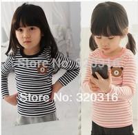Free shipping,Spring children's long sleeve T shirt,Cotton children's striped T-shirt bottoming shirt Bear TZ18A55