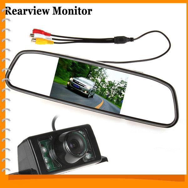 480 x 272 4.3 Inch TFT LCD Car Rear View Mirror Monitor Parking Rearview Monitor + 7 IR Lights Car Reverse Camera(China (Mainland))