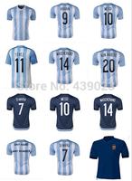 A+++ Thailand 2014 Argentina New Play Version 10# Maradona 10# Messi 7# Di Maria 22# Lavezzi 14# Mascherano Soccer Jerseys