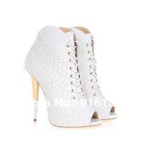 Italy Designer 2014 New Women White Snakeskin Pumps,Plus Size Peep Toe High Heel Shoes Women White Gladiator Spring Ankle Boots