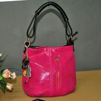 New 2014 women's genuine leather messenger bags sweet embossed serpentine pattern crossbody handbags with flower tassel SN0744
