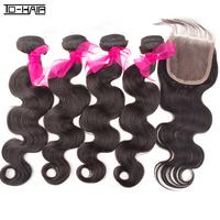 New Arrival 6A 4 pcs Virgin Unprocessed Brazilian Hair Body Wave With 1pc Freestyle Lace Closure 5 pcs lot Natural Color 1B