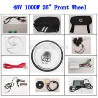 Best Sell Powerful Gearless Motor 48V 1000W 26inch Conversion Kit Ebike Front Wheel Electric Bike E-bike LCD Screen Bicycle