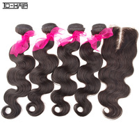 6A Hot Sale 4pcs Body Wave Virgin Brazilian Hair Weft With Top Middle Part Lace Closure Natural Color 1B 5 pcs lot TD HAIR