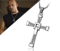 Hot Fast and Furious Vin Diesel Dominic Toretto's Cross Pendant Necklaces For Crystal Men's Cross Necklace free shipping