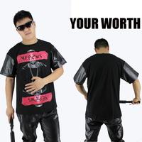 2014 hot top t shirt pyrex mens t shirts fashion leather shirt men hba pu sleeve men shirts been trill