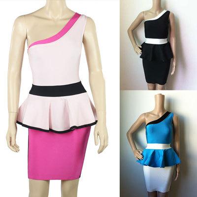 One Shoulder Lotus Leaf Girls Short HL Bandage Dress 2014 Newest Blue And White/Pink/Black(China (Mainland))