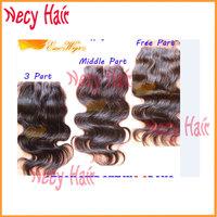 "Free shipping 4X4"" Top grade 6A + Peruvian Virgin Hair 3 way part way Top lace closure, bleached knots,body wave , natural color"