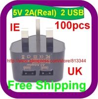 100 pcs Free Shipping 5V 2A UK plug high quality dual USB home charger For HTC Motorola Samsung Galaxy S3 I9300, I9100 I9500