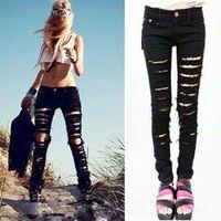 Hot Fashion 2014 Cotton Denim Ripped Punk Cut out Women Sexy Skinny Pants Jeans Pencil Pants Black