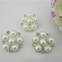 (FL140)Good Metal Pearl Rhinestone Diamond Shank Button For Swing Craft
