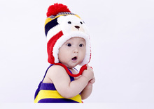 2014 New Baby Caps Free Shipping Hemp Pattern Knitting Children's Lovely Warm Hats Wool Beanies Cap Ear Protect Winter Hat H42(China (Mainland))