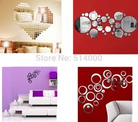 Fashion Silver 3D Wall Sticker Mosaic Mirror Sofa Living Room Decoration Wholesale Free Shipping