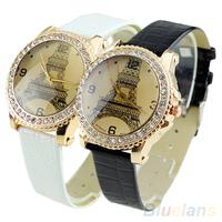 Fashion Women Faux Leather Crystal Rhinestone Eiffel Tower Quartz Wrist Watch Fashion Watch Black White Sale 1MMJ