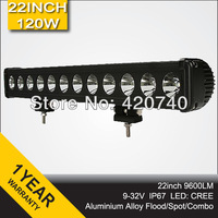 Free Shipping 22inch 120W Cree LED Light Bar Spot Flood Combo Beam 12V 24V Driving Drive Working Lamp For Jeep 4X4 4WD SUV ATV