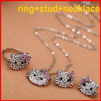 Crystal Rhinestone Hello Kitty Children Jewelry Sets Fashion Girls Jewelry - SKBTQ