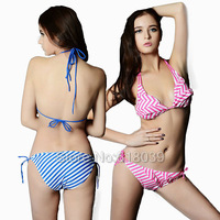 B122 VS Brand String Striped Bikini Set For Women Swimwear Sexy Beach Wear Swimsuit Ruffle Biquini Bathing Suit 2014 New Hot