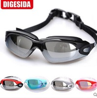 Big box waterproof anti-fog swimming goggles plain hd anti-uv plating film glasses